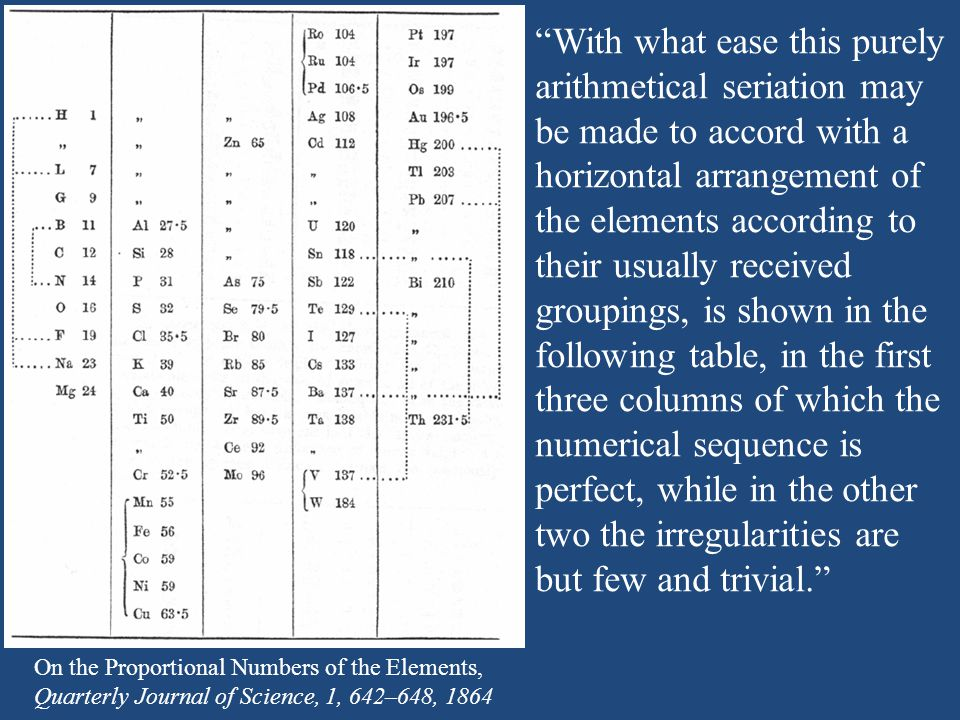 With what ease this purely arithmetical seriation may be made to accord with a horizontal arrangement of the elements according to their usually received groupings, is shown in the following table, in the first three columns of which the numerical sequence is perfect, while in the other two the irregularities are