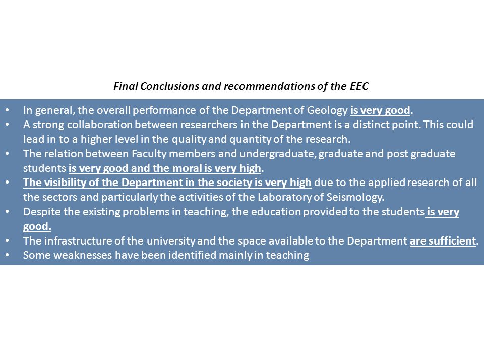 Final Conclusions and recommendations of the EEC