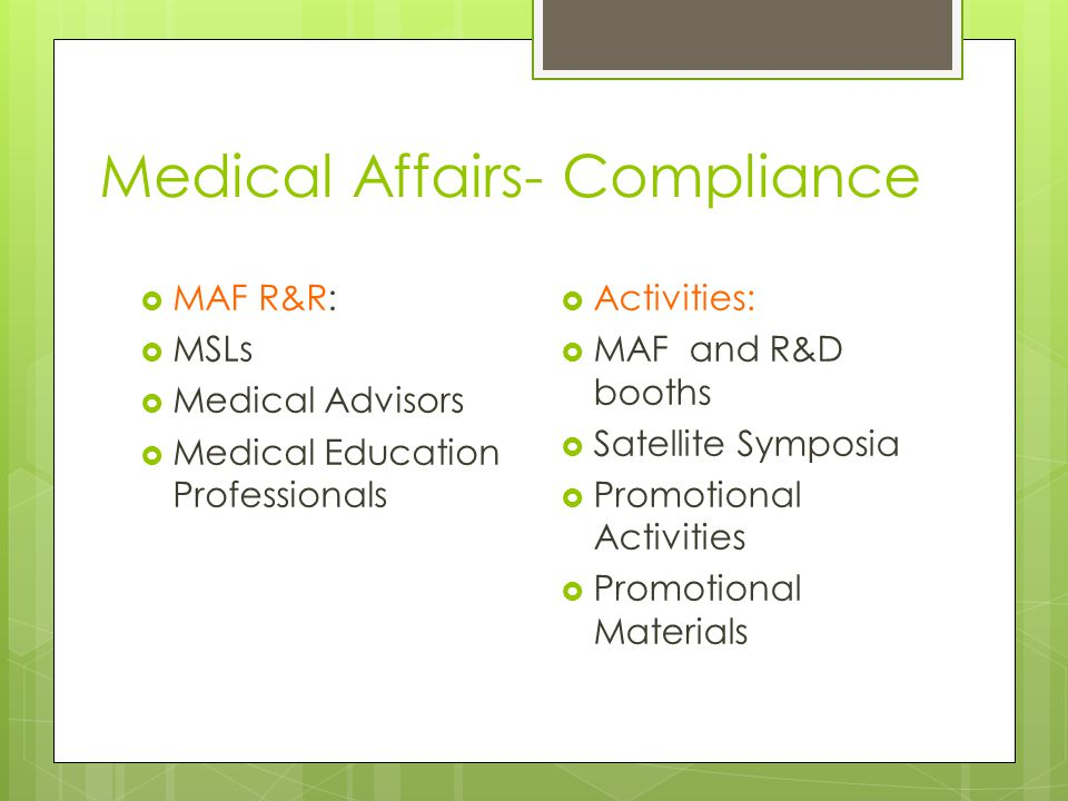 Medical Affairs- Compliance