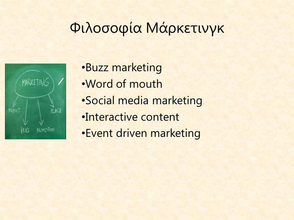 Φιλοσοφία Μάρκετινγκ Buzz marketing Word of mouth
