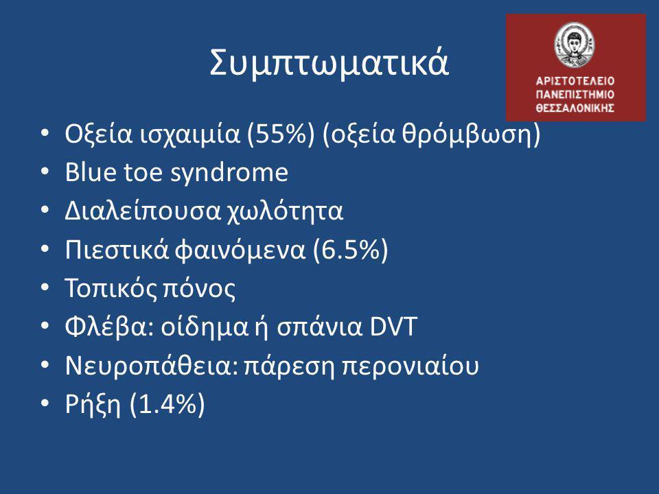 Συμπτωματικά Οξεία ισχαιμία (55%) (οξεία θρόμβωση) Blue toe syndrome