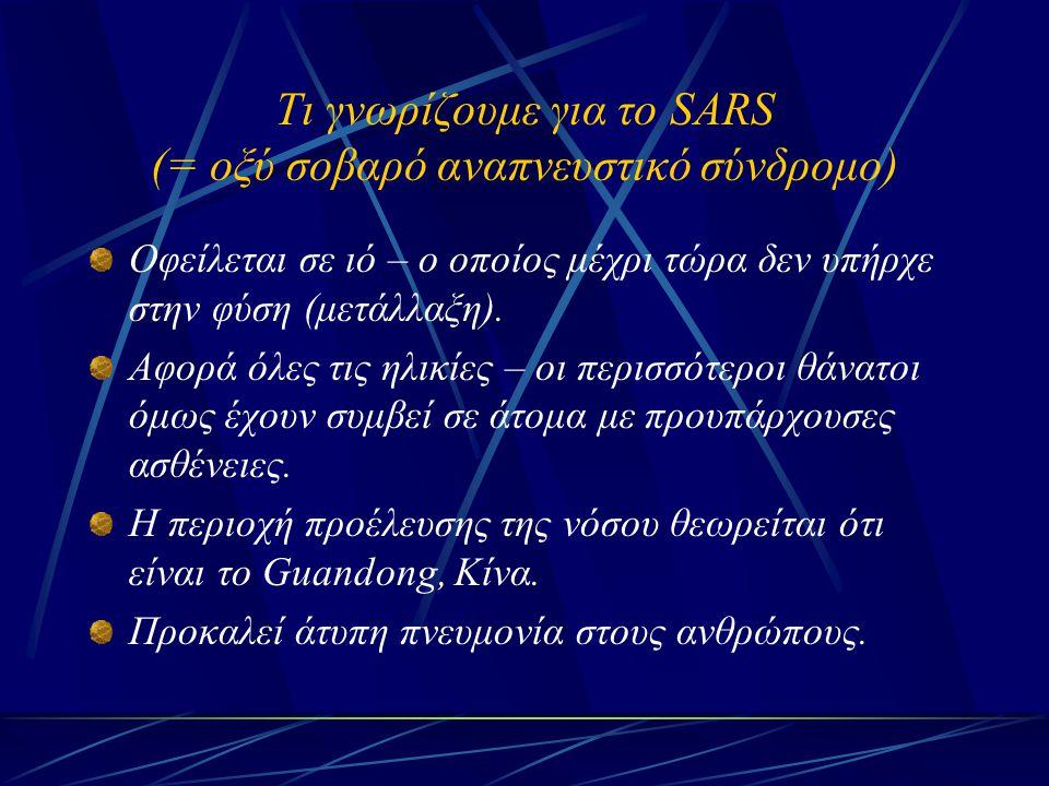 Τι γνωρίζουμε για το SARS (= οξύ σοβαρό αναπνευστικό σύνδρομο)