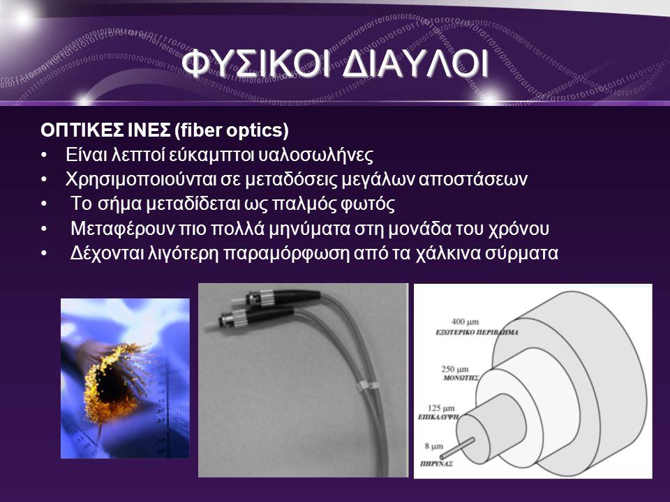 ΦΥΣΙΚΟΙ ΔΙΑΥΛΟΙ ΟΠΤΙΚΕΣ ΙΝΕΣ (fiber optics)