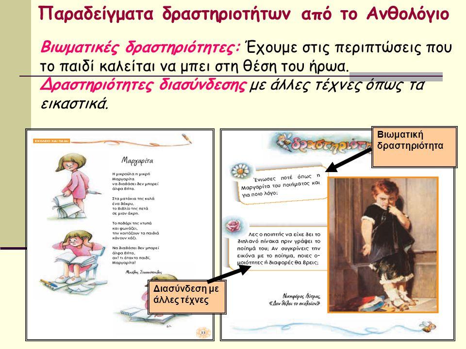 Παραδείγματα δραστηριοτήτων από το Ανθολόγιο