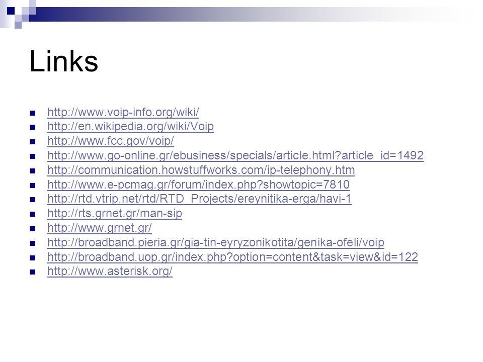 Links http://www.voip-info.org/wiki/ http://en.wikipedia.org/wiki/Voip