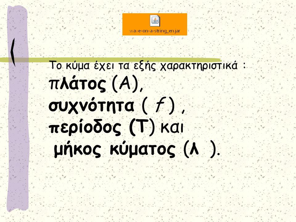 Το κύμα έχει τα εξής χαρακτηριστικά : πλάτος (Α), συχνότητα ( f ) , περίοδος (Τ) και μήκος κύματος (λ ).