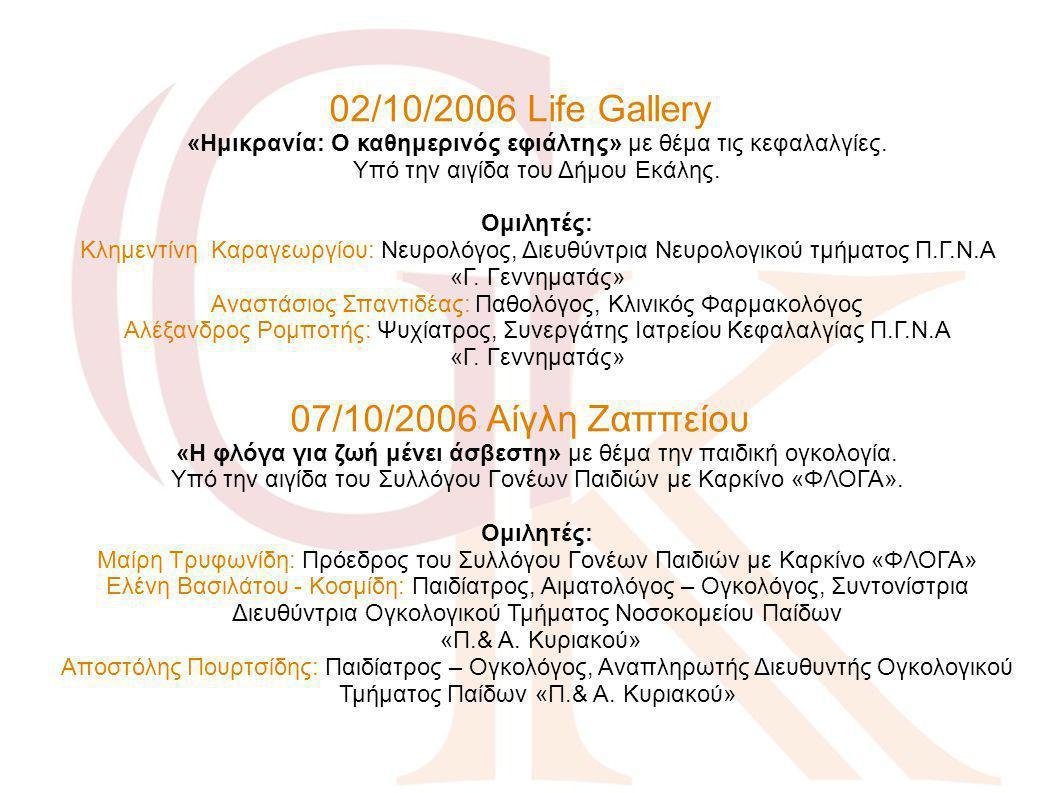 02/10/2006 Life Gallery «Ημικρανία: Ο καθημερινός εφιάλτης» με θέμα τις κεφαλαλγίες. Υπό την αιγίδα του Δήμου Εκάλης. Ομιλητές: Κλημεντίνη Καραγεωργίου: Νευρολόγος, Διευθύντρια Νευρολογικού τμήματος Π.Γ.Ν.Α «Γ. Γεννηματάς» Αναστάσιος Σπαντιδέας: Παθολόγος, Κλινικός Φαρμακολόγος Αλέξανδρος Ρομποτής: Ψυχίατρος, Συνεργάτης Ιατρείου Κεφαλαλγίας Π.Γ.Ν.Α «Γ. Γεννηματάς»