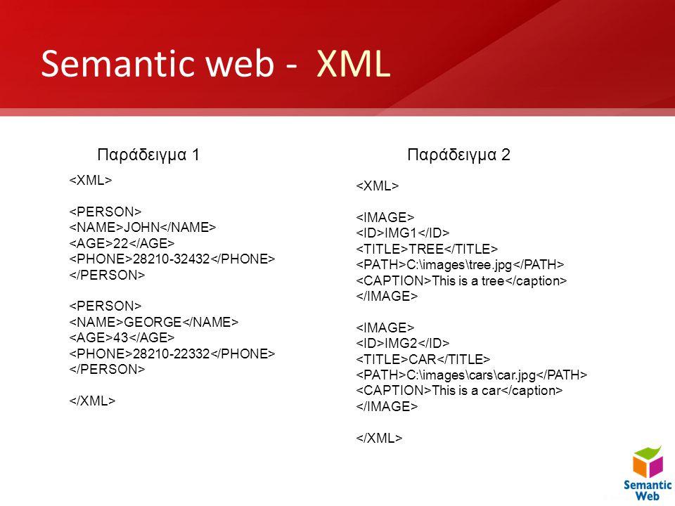Semantic web - XML Παράδειγμα 1 Παράδειγμα 2 <XML> <XML>