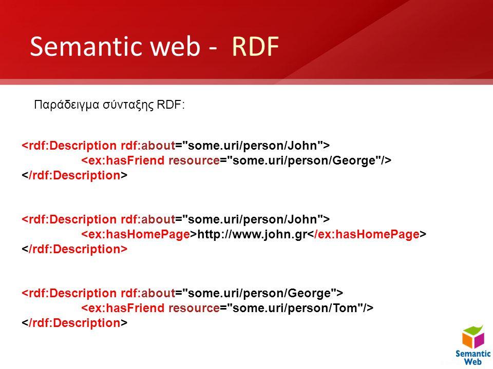 Semantic web - RDF Παράδειγμα σύνταξης RDF: