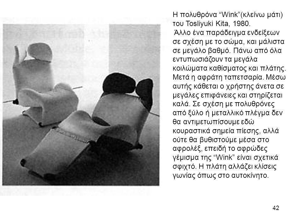 Η πολυθρόνα Wink (κλείνω μάτι) του Tosliyuki Kita, 1980.