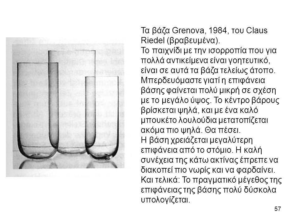 Τα βάζα Grenova, 1984, του Claus Riedel (βραβευμένα).
