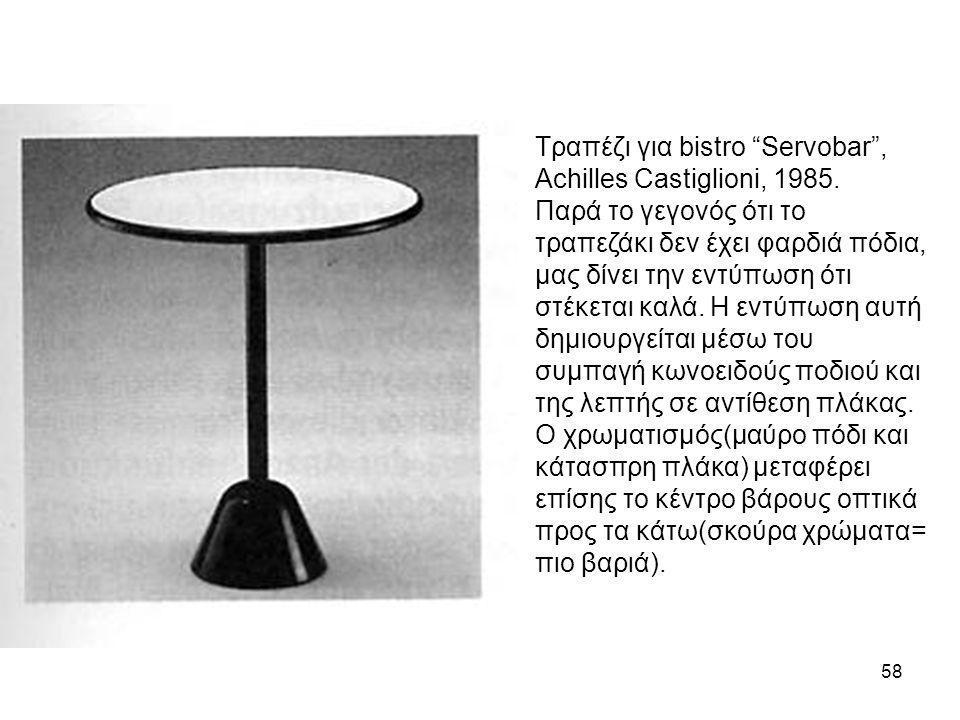 Τραπέζι για bistro Servobar , Achilles Castiglioni, 1985.