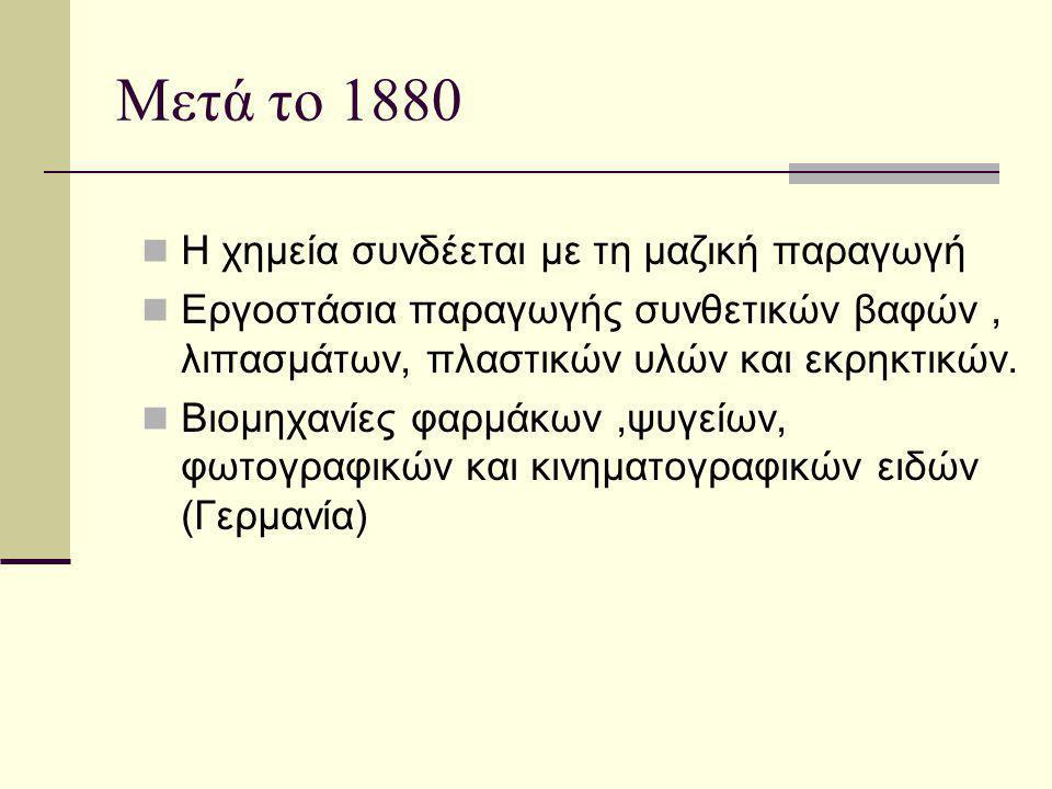 Μετά το 1880 Η χημεία συνδέεται με τη μαζική παραγωγή