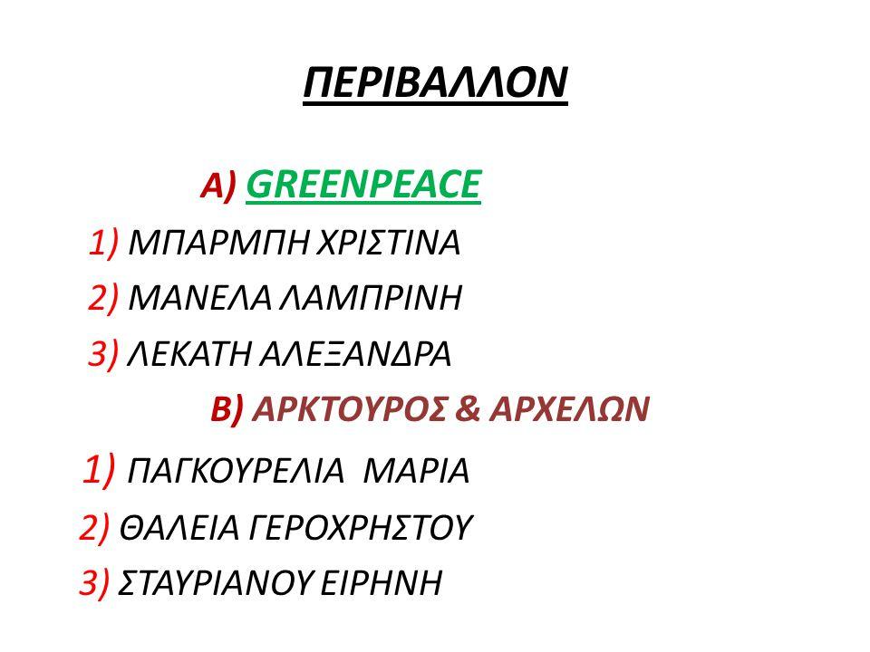 ΠΕΡΙΒΑΛΛΟΝ 1) ΠΑΓΚΟΥΡΕΛΙΑ ΜΑΡΙΑ Α) GREENPEACE 1) ΜΠΑΡΜΠΗ ΧΡΙΣΤΙΝΑ