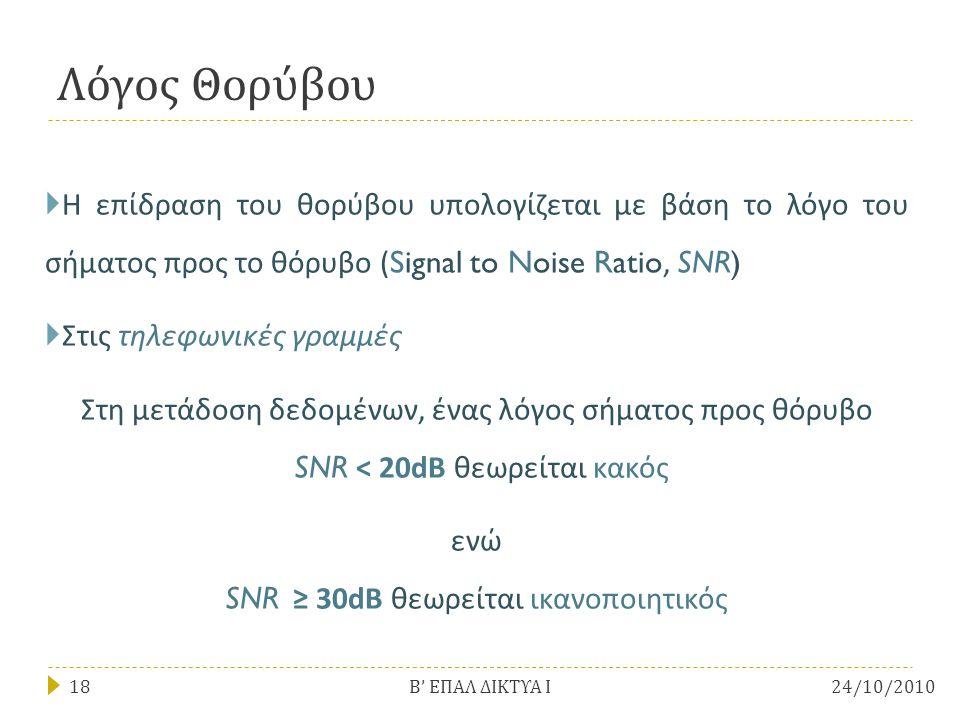 ενώ SNR ≥ 30dB θεωρείται ικανοποιητικός
