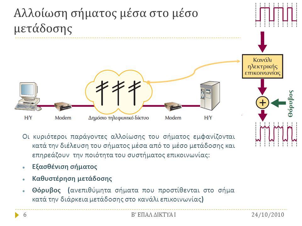 Αλλοίωση σήματος μέσα στο μέσο μετάδοσης
