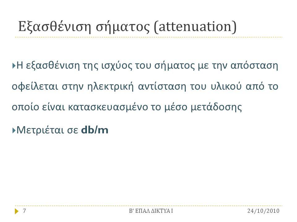 Εξασθένιση σήματος (attenuation)