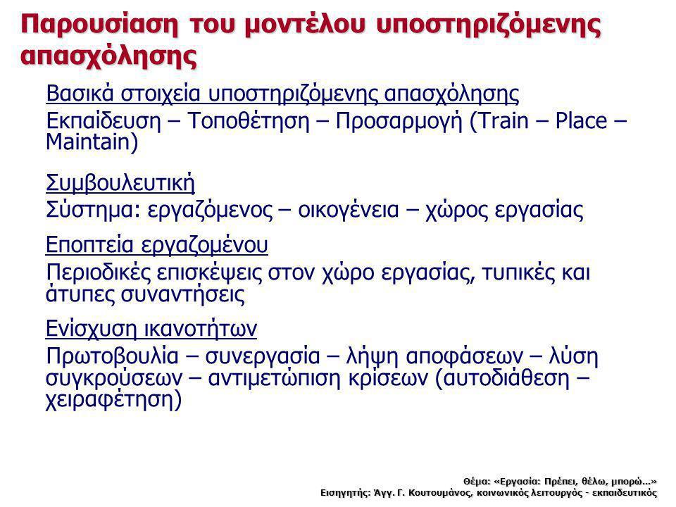 Παρουσίαση του μοντέλου υποστηριζόμενης απασχόλησης