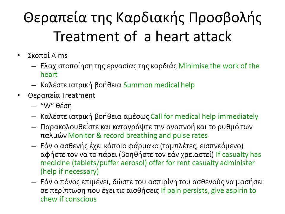 Θεραπεία της Καρδιακής Προσβολής Treatment of a heart attack