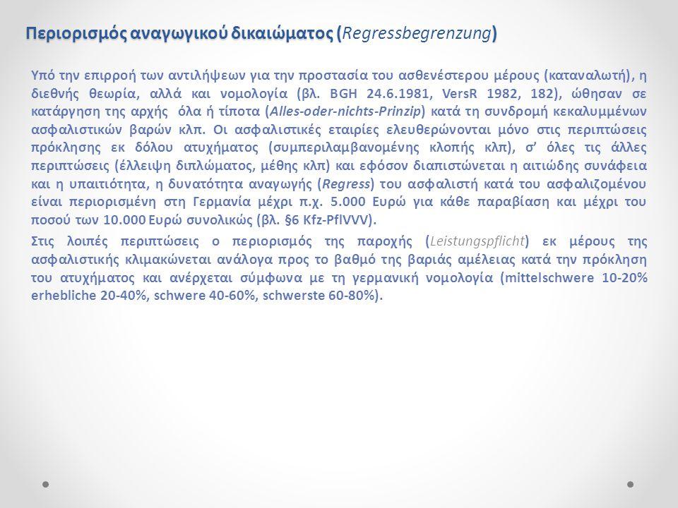 Περιορισμός αναγωγικού δικαιώματος (Regressbegrenzung)