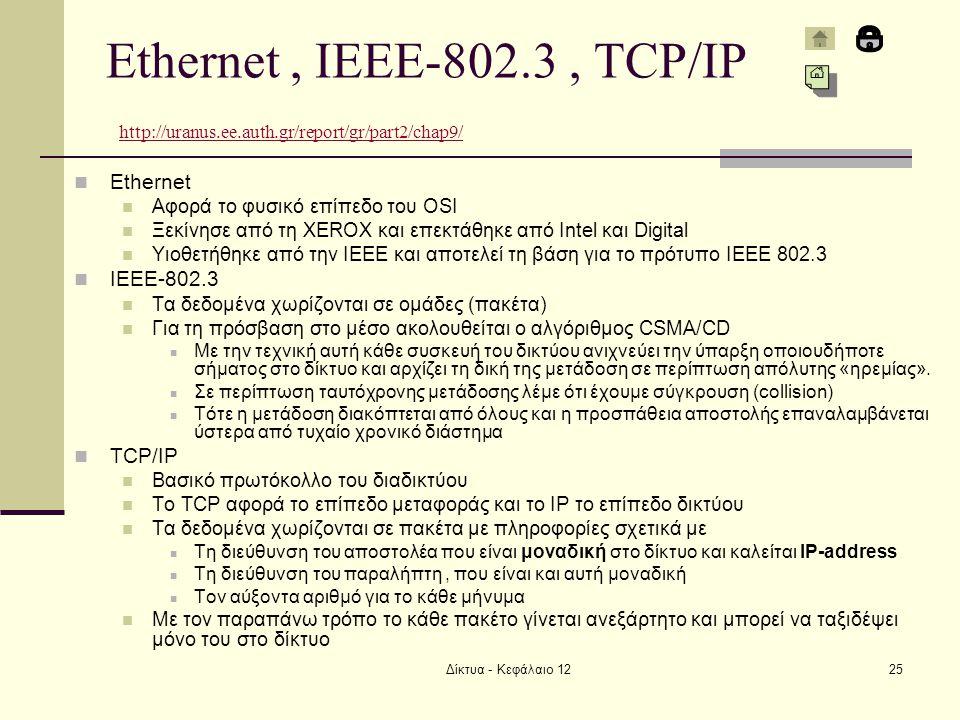 Ethernet , IEEE-802. 3 , TCP/IP http://uranus. ee. auth
