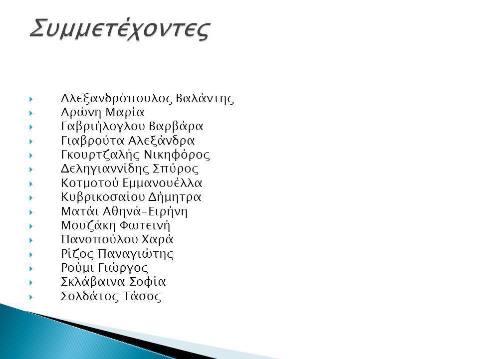 Συμμετέχοντες Αλεξανδρόπουλος Βαλάντης Αρώνη Μαρία