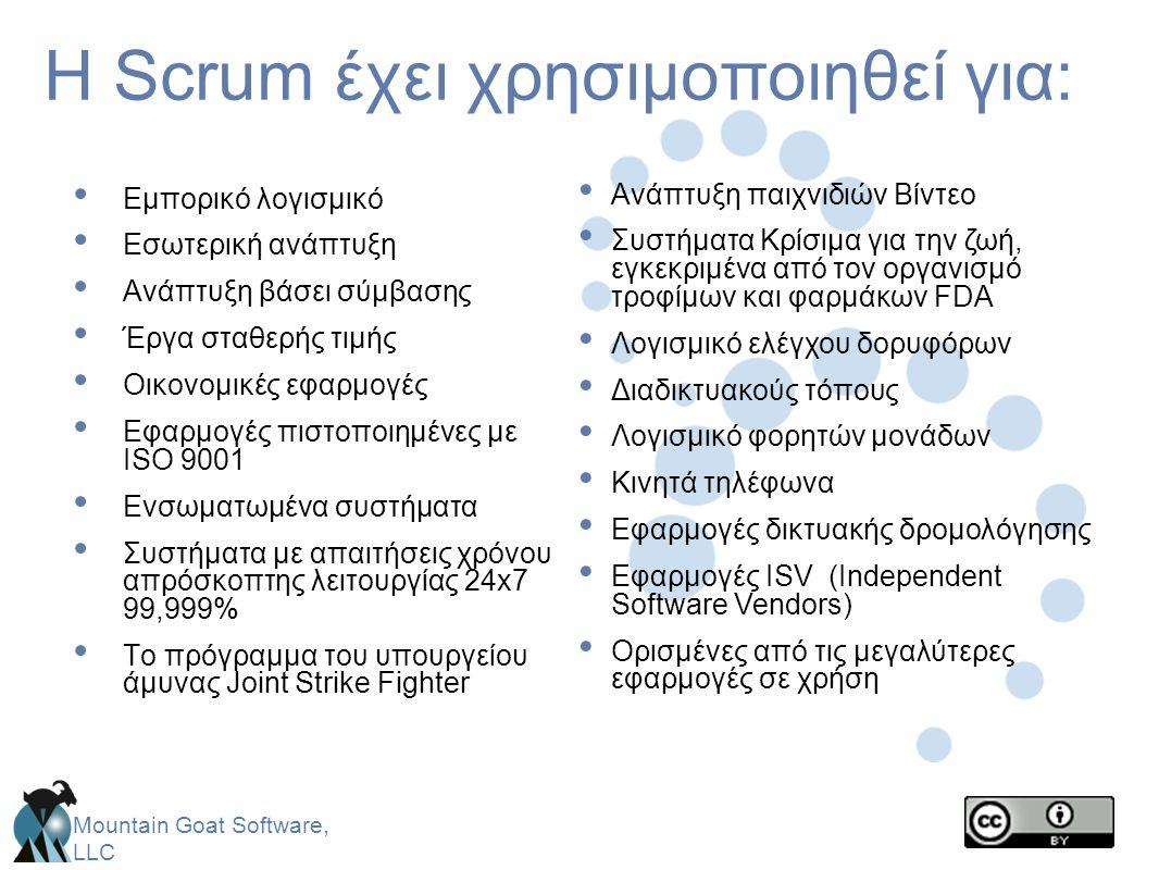 H Scrum έχει χρησιμοποιηθεί για: