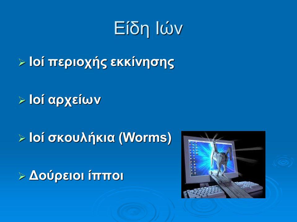 Είδη Ιών Ιοί περιοχής εκκίνησης Ιοί αρχείων Ιοί σκουλήκια (Worms)