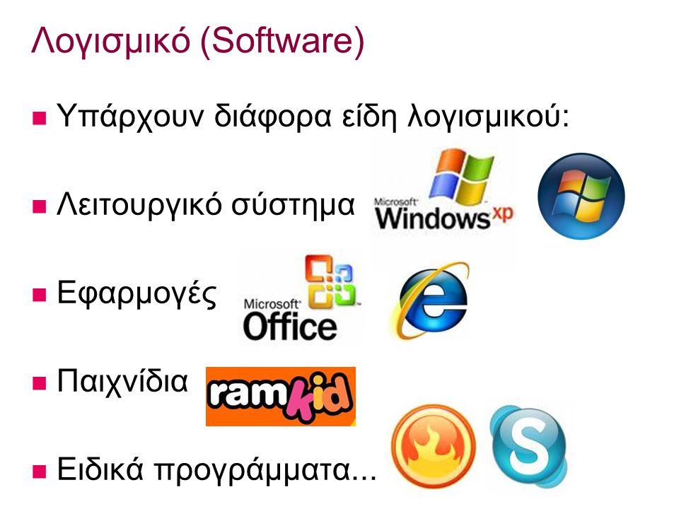 Λογισμικό (Software) Υπάρχουν διάφορα είδη λογισμικού: