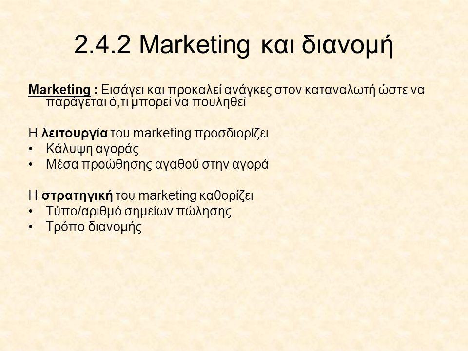 2.4.2 Marketing και διανομή Marketing : Εισάγει και προκαλεί ανάγκες στον καταναλωτή ώστε να παράγεται ό,τι μπορεί να πουληθεί.