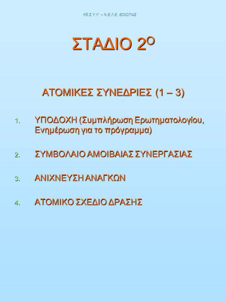 ΑΤΟΜΙΚΕΣ ΣΥΝΕΔΡΙΕΣ (1 – 3)