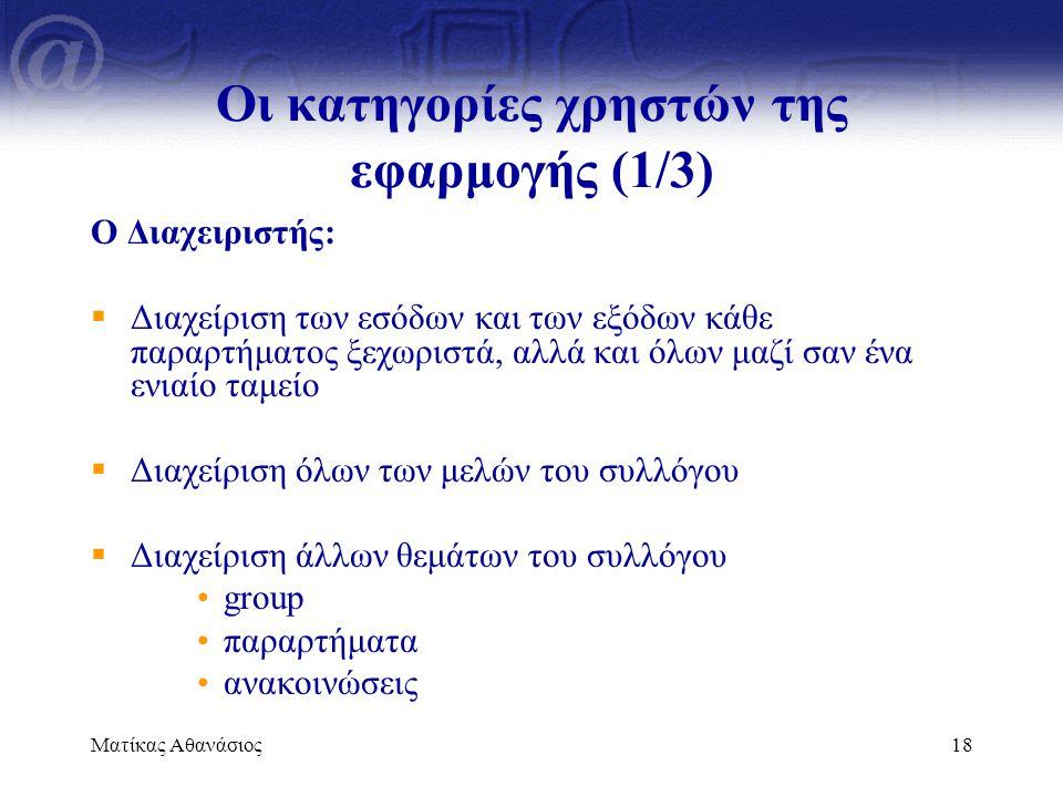 Οι κατηγορίες χρηστών της εφαρμογής (1/3)