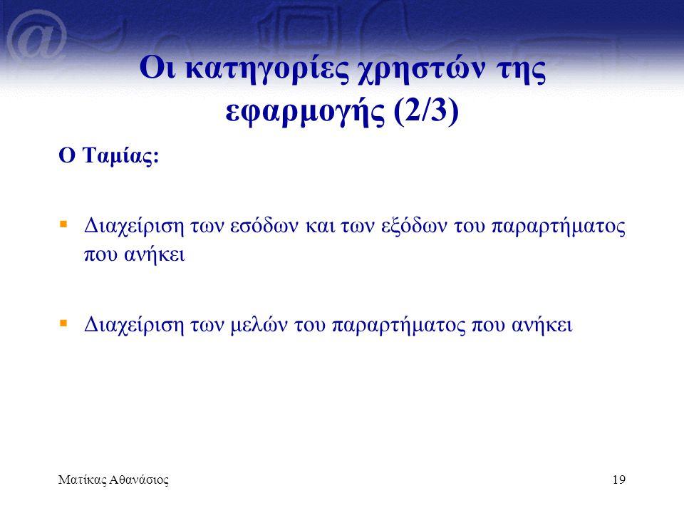 Οι κατηγορίες χρηστών της εφαρμογής (2/3)