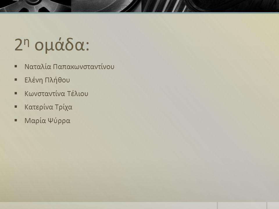 2η ομάδα: Ναταλία Παπακωνσταντίνου Ελένη Πλήθου Κωνσταντίνα Τέλιου