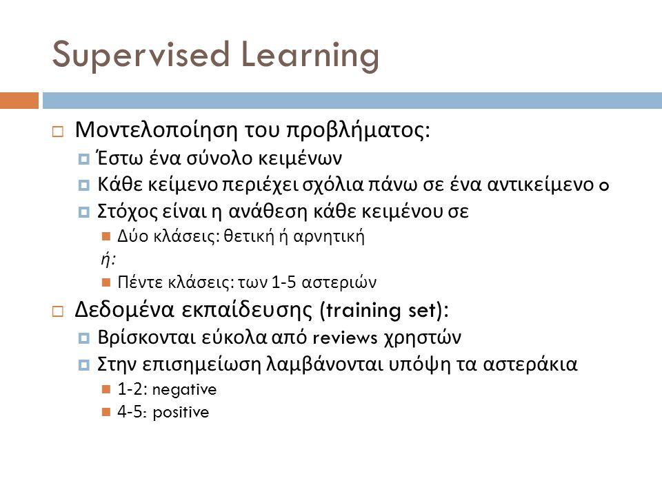 Supervised Learning Μοντελοποίηση του προβλήματος: