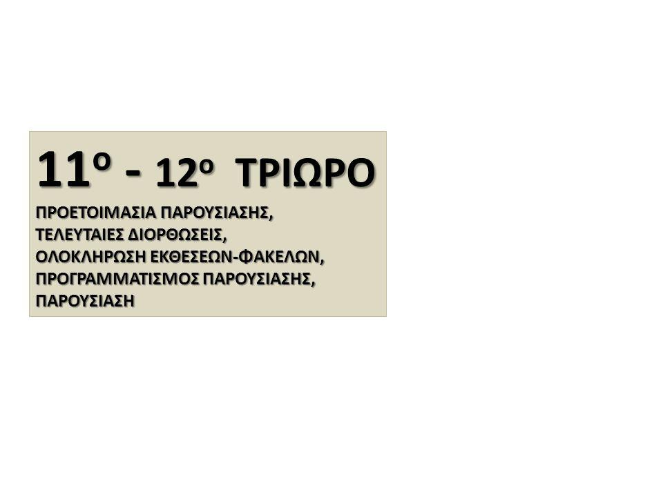 11ο - 12ο ΤΡΙΩΡΟ ΠΡΟΕΤΟΙΜΑΣΙΑ ΠΑΡΟΥΣΙΑΣΗΣ, ΤΕΛΕΥΤΑΙΕΣ ΔΙΟΡΘΩΣΕΙΣ,
