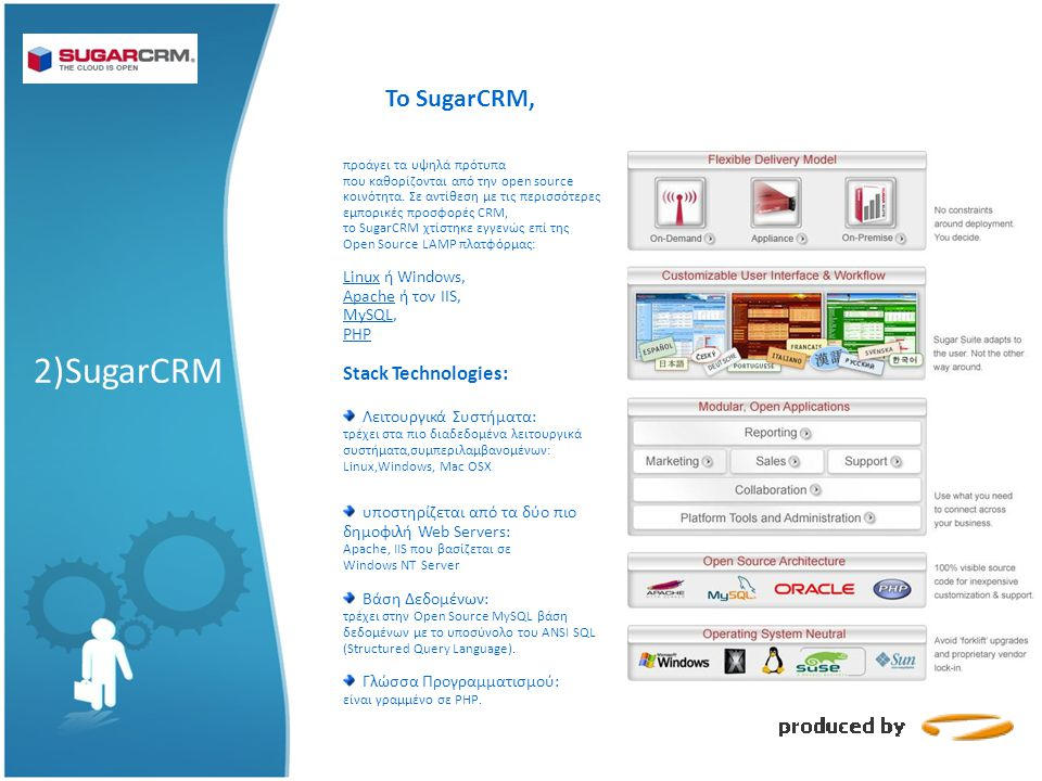 2)SugarCRM Το SugarCRM, Stack Technologies: Linux ή Windows,