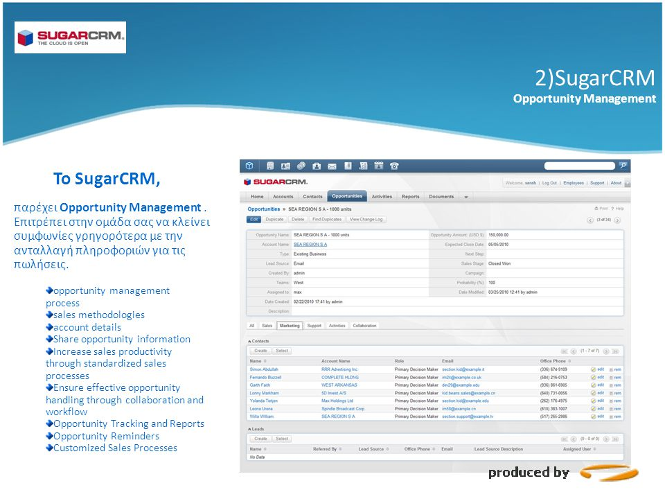 2)SugarCRM Το SugarCRM, Opportunity Management