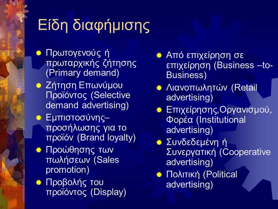 Είδη διαφήμισης Πρωτογενούς ή πρωταρχικής ζήτησης (Primary demand)