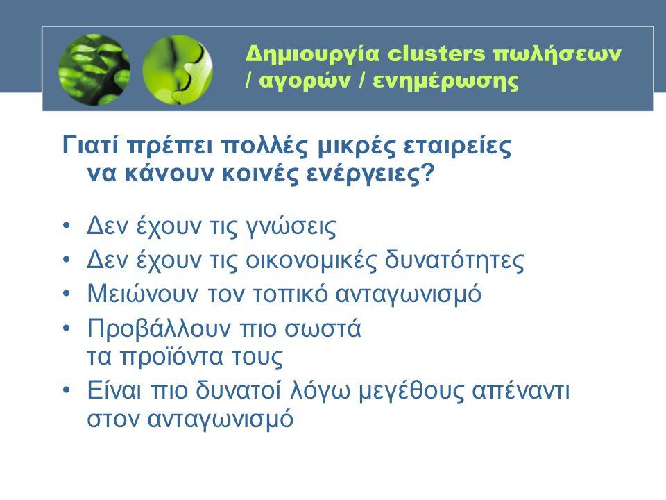 Δημιουργία clusters πωλήσεων / αγορών / ενημέρωσης