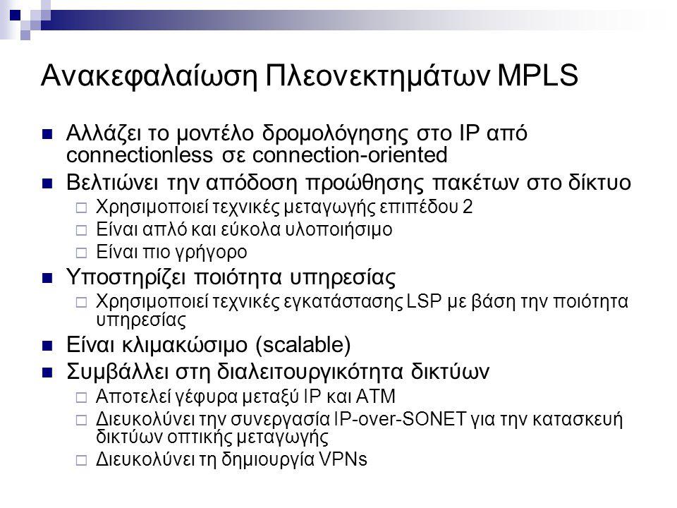 Ανακεφαλαίωση Πλεονεκτημάτων MPLS