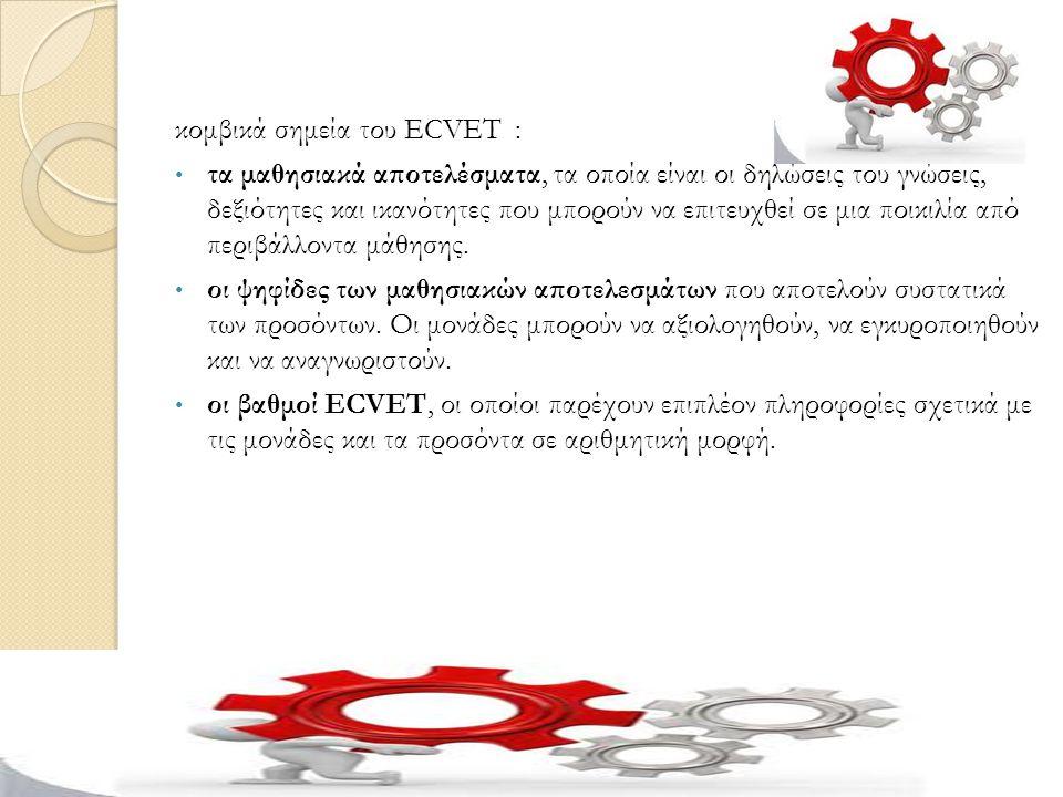 κομβικά σημεία του ECVET :