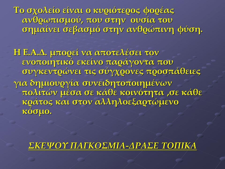 ΣΚΕΨΟΥ ΠΑΓΚΟΣΜΙΑ-ΔΡΑΣΕ ΤΟΠΙΚΑ