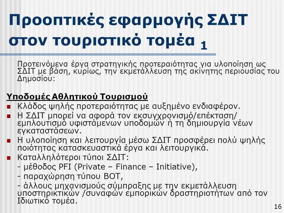 Προοπτικές εφαρμογής ΣΔΙΤ στον τουριστικό τομέα 1
