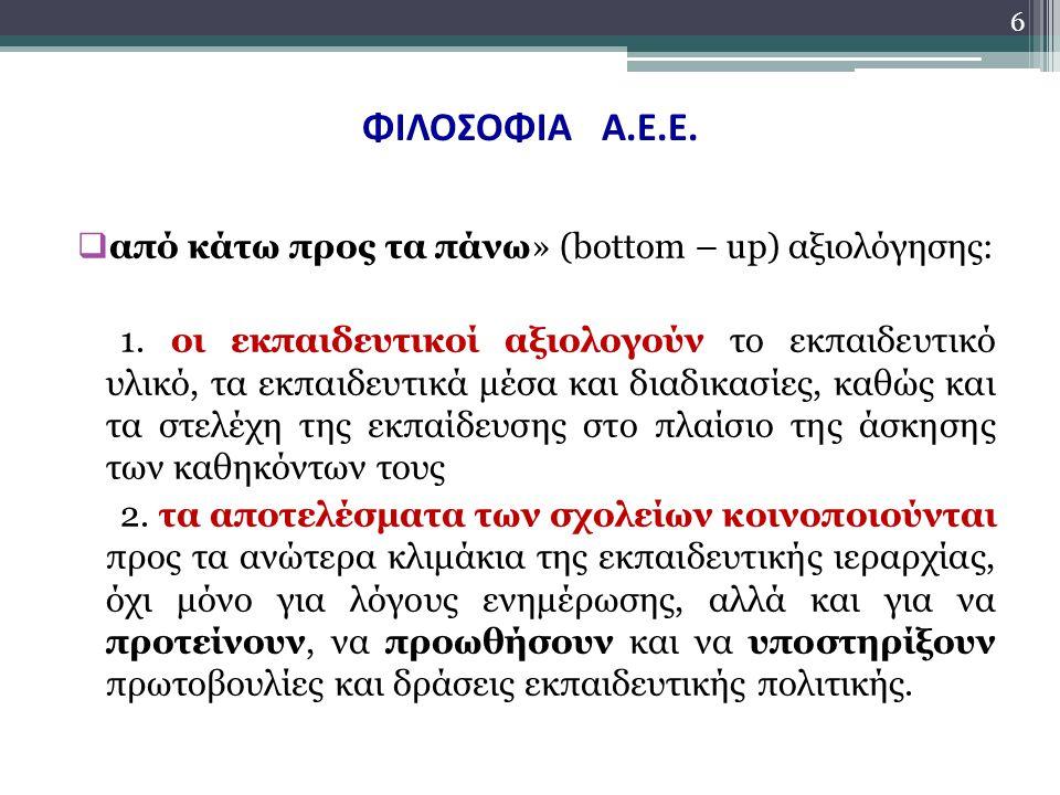 ΦΙΛΟΣΟΦΙΑ Α.Ε.Ε. από κάτω προς τα πάνω» (bottom – up) αξιολόγησης: