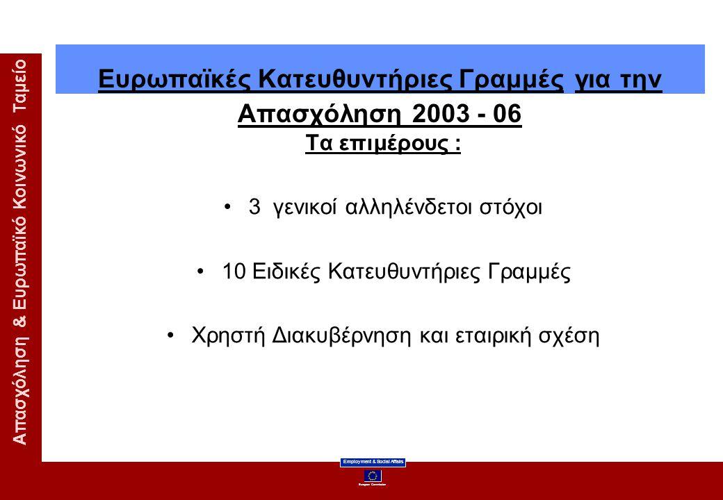 Ευρωπαϊκές Κατευθυντήριες Γραμμές για την Απασχόληση 2003 - 06