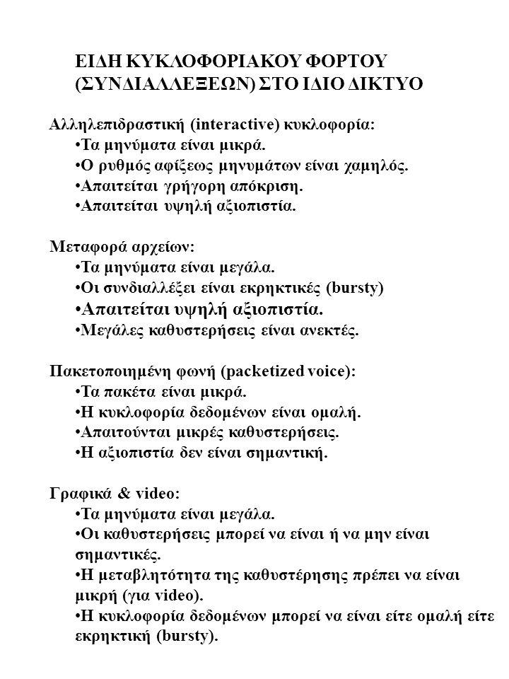 ΕΙΔΗ ΚΥΚΛΟΦΟΡΙΑΚΟΥ ΦΟΡΤΟΥ (ΣΥΝΔΙΑΛΛΕΞΕΩΝ) ΣΤΟ ΙΔΙΟ ΔΙΚΤΥΟ