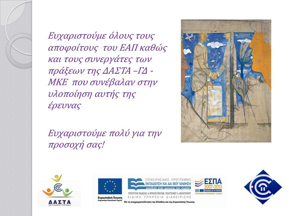 Ευχαριστούμε όλους τους αποφοίτους του ΕΑΠ καθώς και τους συνεργάτες των πράξεων της ΔΑΣΤΑ –ΓΔ - ΜΚΕ που συνέβαλαν στην υλοποίηση αυτής της έρευνας