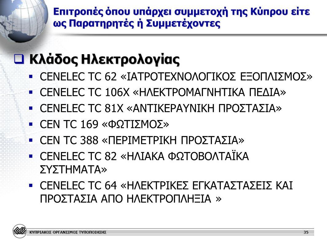 Κλάδος Ηλεκτρολογίας CENELEC TC 62 «ΙΑΤΡΟΤΕΧΝΟΛΟΓΙΚΟΣ ΕΞΟΠΛΙΣΜΟΣ»