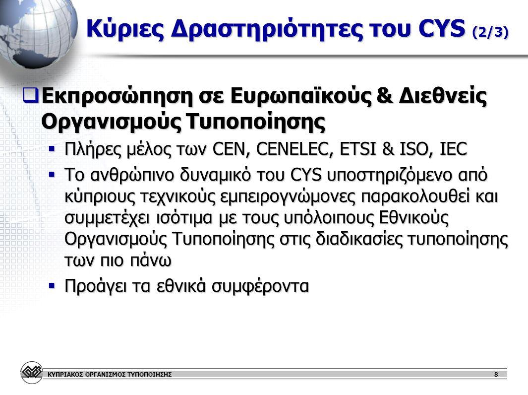 Κύριες Δραστηριότητες του CYS (2/3)
